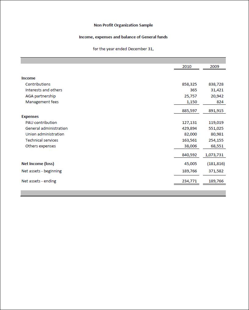 non profit financial statement template excel