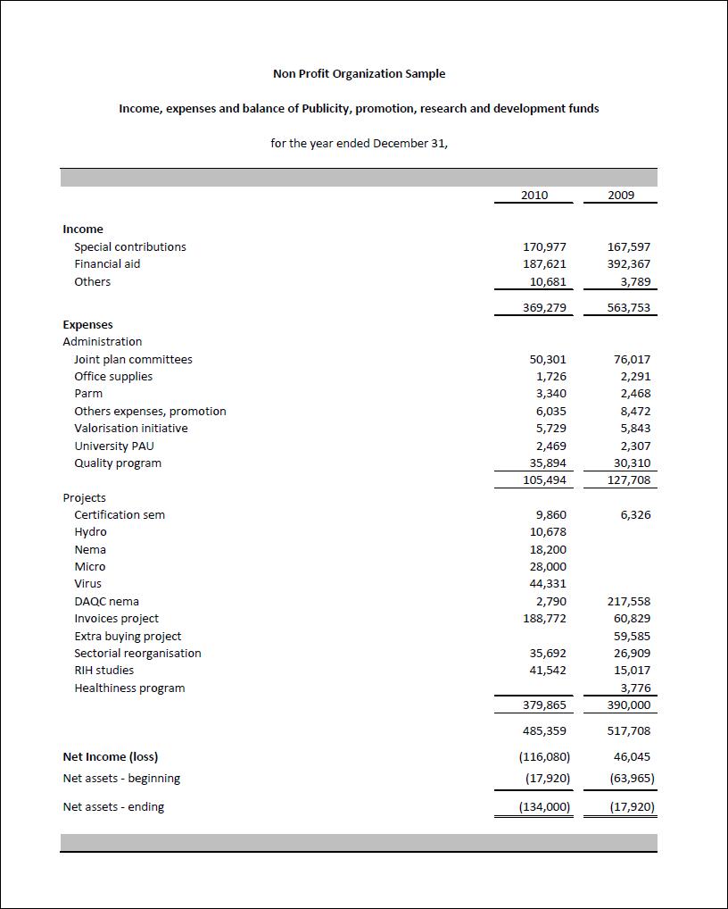 nonprofit financial statements template - Khafre