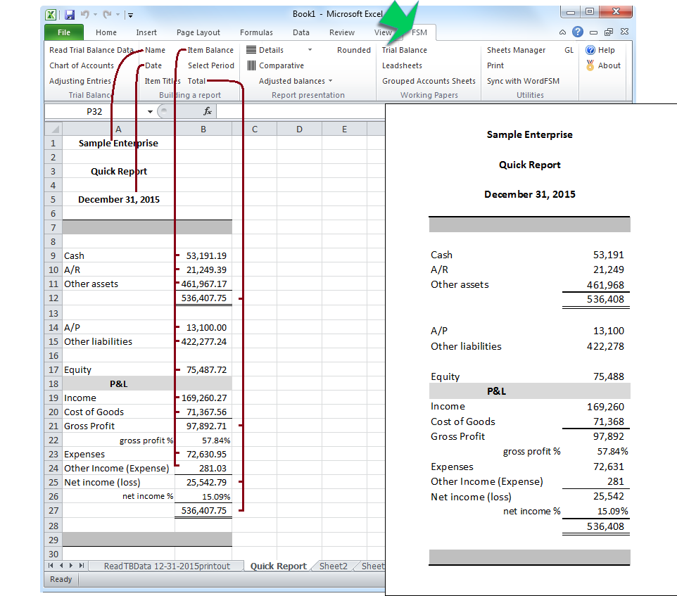 how to create financial statements in excel